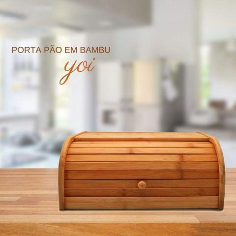 Imagem de Porta Pao Bambu Suporte Com Tampa Madeira Pão Bolo Yoi Tyft