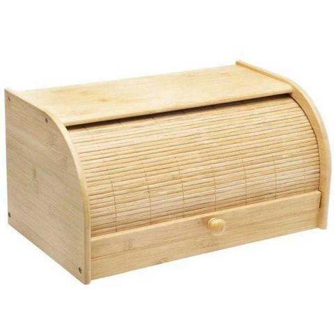 Imagem de Porta Pão Multiuso De Bambu Retrátil Com Tampa Para Cozinha
