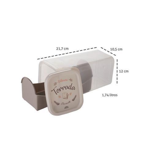 Imagem de Porta Pão Torrada e Biscoito Pote Retrô Plástico 1,74lts 1un