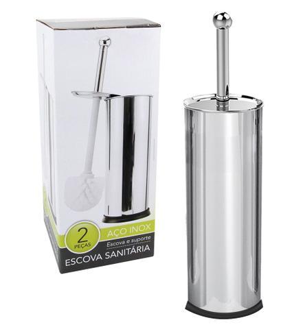 Imagem de Porta Papel Higiênico 4 rolos Cromado + Escova sanitária Inox Kit c/ 4Pçs