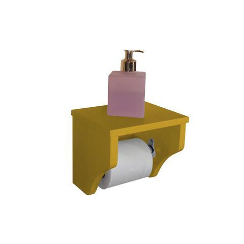 Imagem de Porta Papel Higiênico Acessório para Banheiro Papeleira Suporte de Parede Amarelo Laca