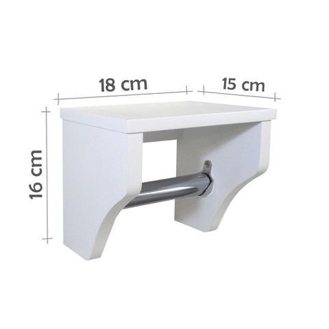 Imagem de Porta Papel Higiênico Acessório para Banheiro Papeleira Suporte de Parede Branco Laca