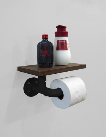 Imagem de Porta Papel Higiênico Acessório para Banheiro Papeleira Suporte de Parede - Preto Laca