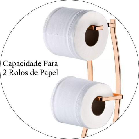 Imagem de Porta Papel Higiênico de Chão Duplo Lixeira Basculante - Rosé Gold