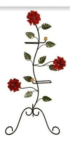 Imagem de Porta papel higiênico de chão em ferro com suporte para  dois rolos tema flor