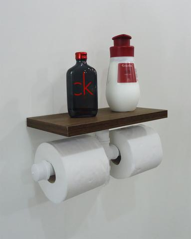 Imagem de Porta Papel Higiênico Duplo Acessório para Banheiro Papeleira Suporte de Parede - Branco Laca
