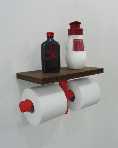Imagem de Porta Papel Higiênico Duplo Acessório para Banheiro Papeleira Suporte de Parede - Vermelho Laca
