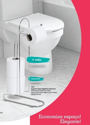 Imagem de Porta Papel Higiênico Para chão Papeleiro 4 Rolo Banheiro Suporte N1021