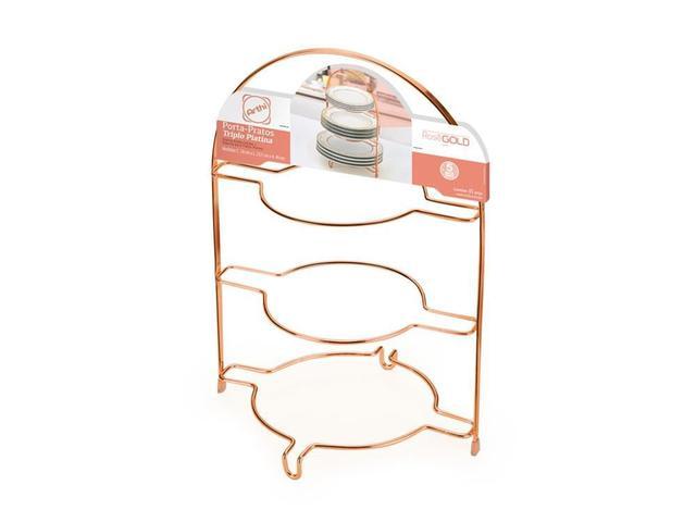 Imagem de Porta pratos triplo piatina rose gold arthi