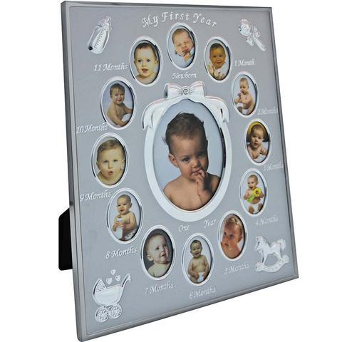 Imagem de Porta Retrato em Aluminio My First Year 20x25 com 13 Aberturas - Prestige