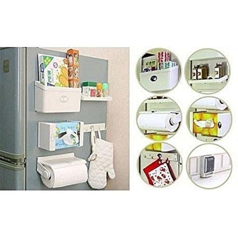 Imagem de Porta rolos magnetico de geladeira multiuso 5 em 1 porta  papel toalha pvc aluminio tempero condimentos gancho para pano de prato organizador