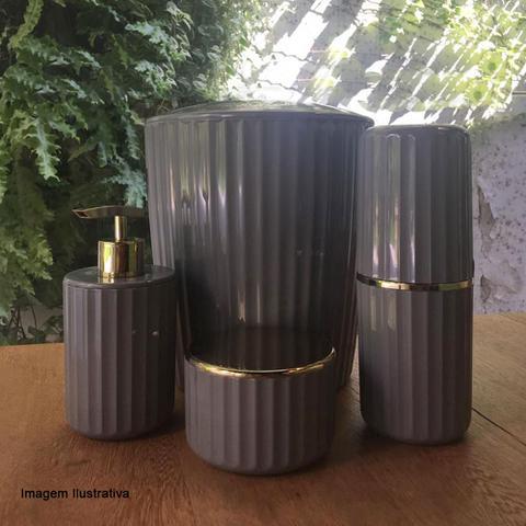 Imagem de Porta Sabonete Liquido de Polipropileno Groove OU Cinza 400ML