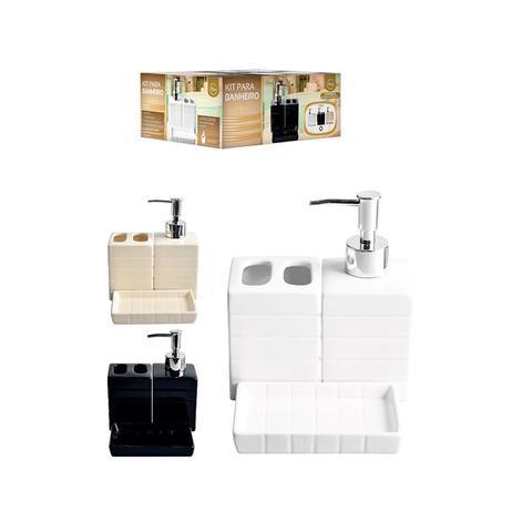 Imagem de Porta Sabonete Liquido Saboneteira Kit Banheiro Porcelana 3 Cores