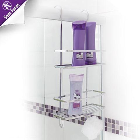 Imagem de Porta Shampoo Suporte De Encaixar No Box Do Banheiro Em Aço