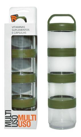 Imagem de Porta Suplementos Acoplável Pó/capsulas Multi Uso Prottect Preto