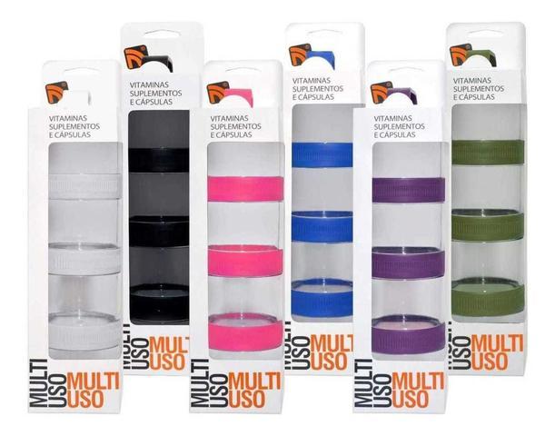 Imagem de Porta Suplementos Acoplável Pó/capsulas Multi Uso Prottector Azul