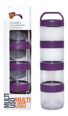 Imagem de Porta Suplementos Acoplável Pó/capsulas Multi Uso Prottector Marrom