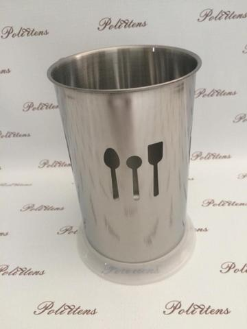 Imagem de Porta talher escorredor de talher de inox com base