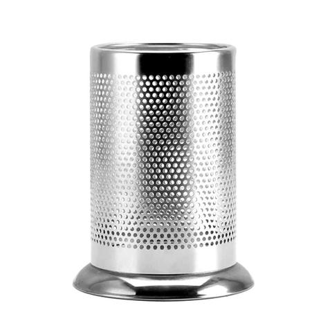 Imagem de Porta Talheres Escorredor Aço Inox Redondo Vazado Cozinha