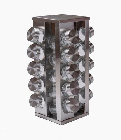 Imagem de Porta Tempero Condimento Inox 20 Potes Com Suporte Giratório