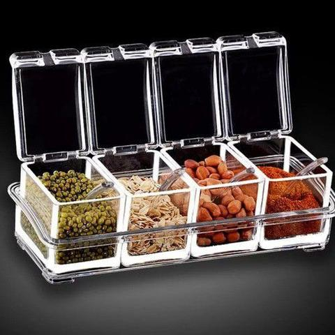 Imagem de Porta Tempero e Condimento Acrílico Organizador Cozinha