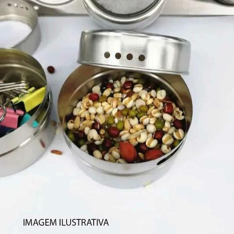Imagem de Porta Temperos Condimento 3 Potes Inox Imã Geladeira