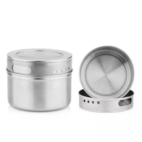 Imagem de Porta Temperos Condimentos 3 Potes Em Inox Magnéticos
