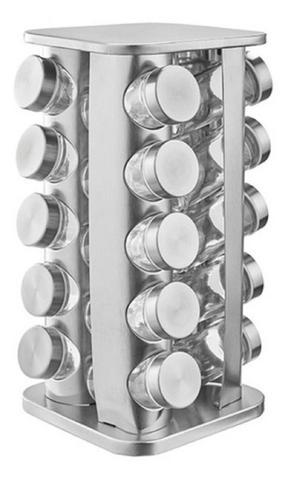 Imagem de Porta temperos e  condimentos giratório quadrado 20 peças pcon-20