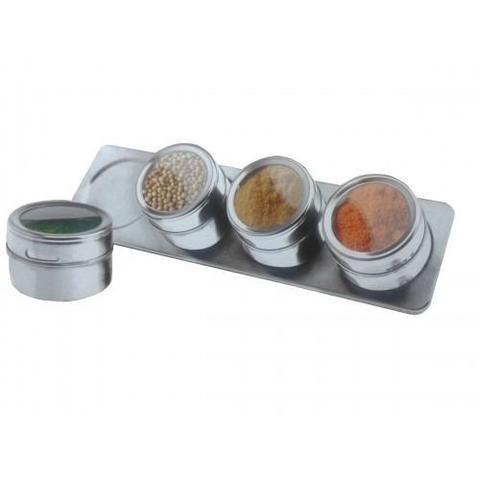 Imagem de Porta Temperos Magnetico 4 Potes Com Ima E Suporte Em Inox