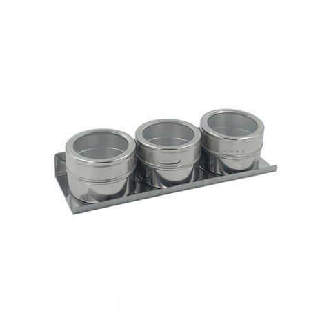 Imagem de Porta Temperos Magnético para Geladeira Inox 3 Peças