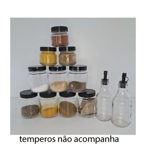 Imagem de Porta Temperos Parede Com Porta Rolo +12 POTES DE VIDRO