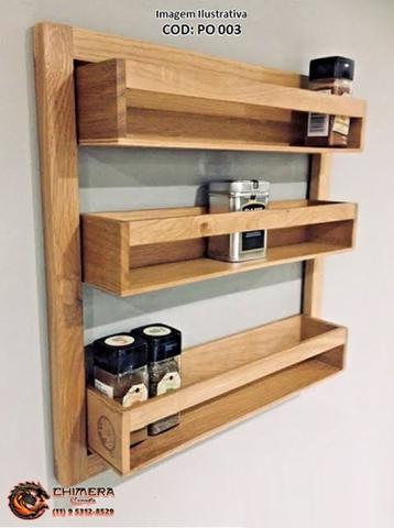 Imagem de Porta temperos Rústico de madeira Verniz ou preto