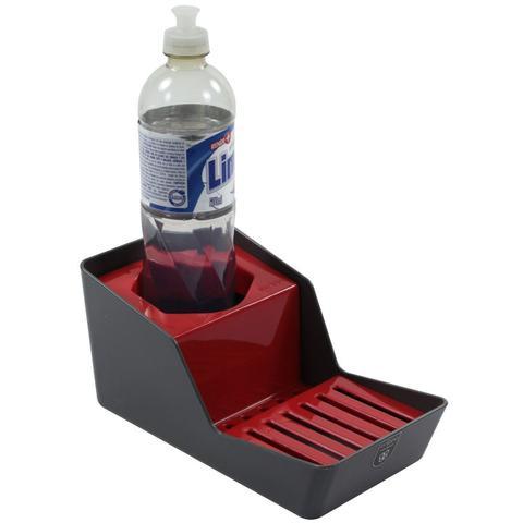 Imagem de Porta Vidro de Detergente Esponja e Sabão Barra - Chumbo/Vermelho