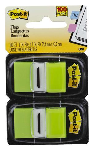 Imagem de Post-It Flags 25,4 x 43,2 mm Verde com 100 unidades 3M