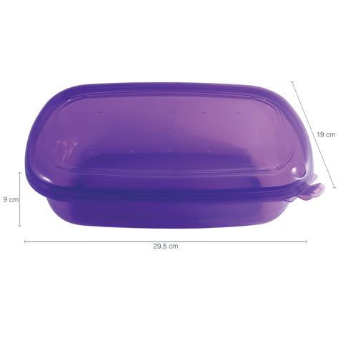 Imagem de Pote Hermético Freezer Microondas Grande Retangular 3000ml Lilas