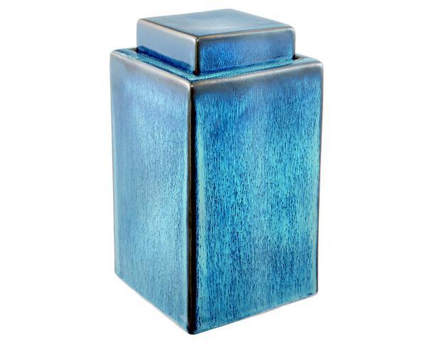 Imagem de Pote Potiche Cerâmica Decoração Azul 13,5X24,5X13,5Cm