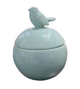 Imagem de Potiche ceramica decorativo round top bird verde gde 13 x 13 x 16,6 cm