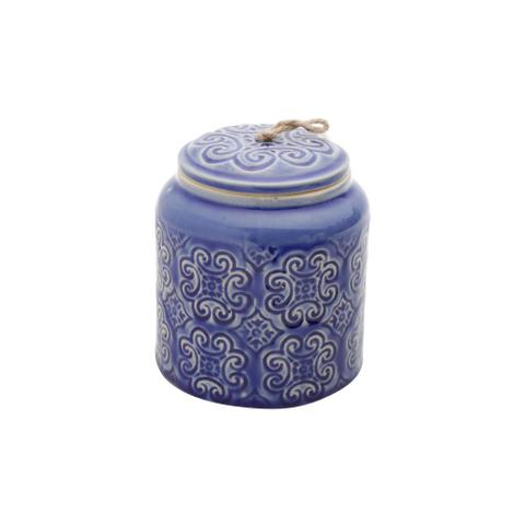Imagem de Potiche ceramica embossed flowers azul 11x11x13cm