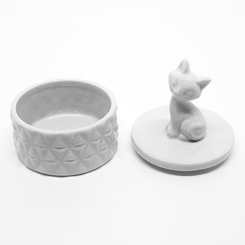 Imagem de Potiche cerâmica Gato - branco