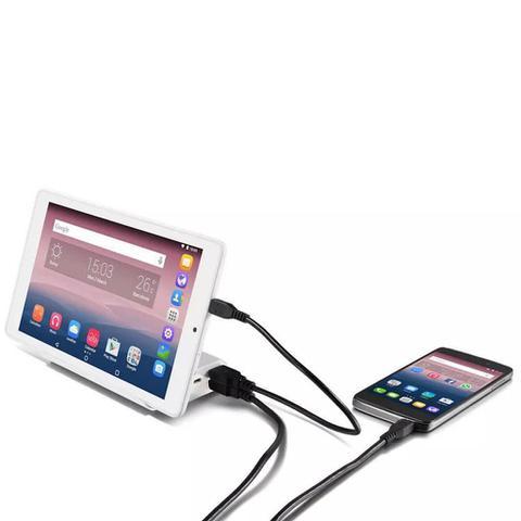 Imagem de Powerbank Carregador Portátil C/ Base Suporte P/celular Alcatel Onetouch Pb80 10.400mah Branco C/ 2 Saidas USB