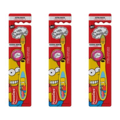 Imagem de Powerdent The Simpsons + 8 Anos C/ protetor Escova Dental (Kit C/03)