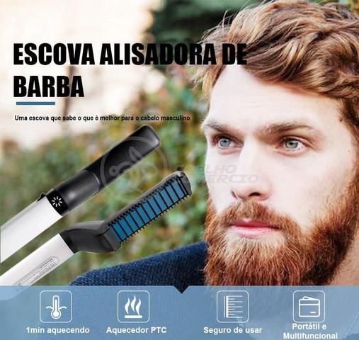 Imagem de Prancha Alisadora Escova Modeladora Barba Cabelo Masculino FB161 - For Beaut