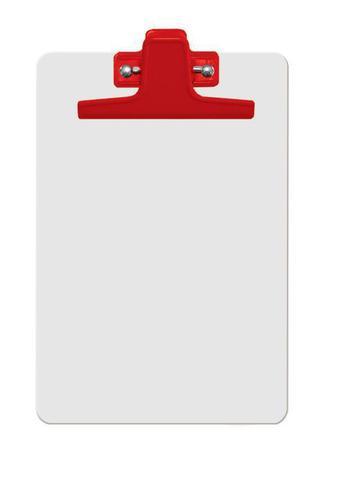 Imagem de Prancheta mdf branca A5 (pequena) prend.metálico vermelha 125.4