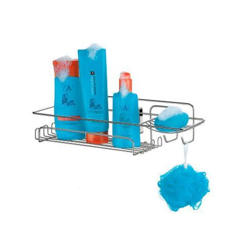 Imagem de Prateleira para shampoo retangular com ventosas aço cromado Arthi