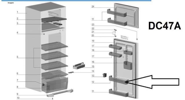 Imagem de Prateleira porta geladeira electrolux df46 df50 extra grande