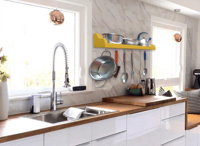 Imagem de Prateleira Suporte Porta Panelas e Utensílios de Cozinha - Amarelo Laca