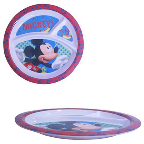 Imagem de Prato De Melamina Infantil Redondo Com 3 Divisorias Mickey 21 3cm De Ø