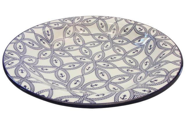 Imagem de Prato de Porcelana Fundo Decorado Náutico Biona Oxford - 23 Cm