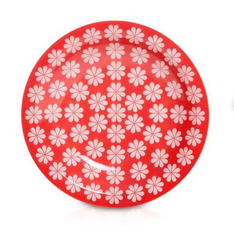 Imagem de Prato de Porcelana Fundo Decorado Renda Biona Oxford - Vermelho / 23 Cm
