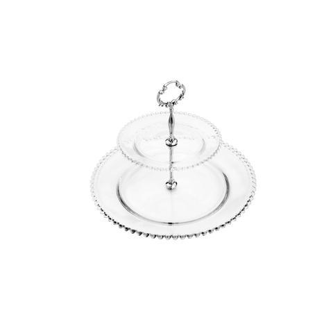 Imagem de Prato Duplo para Doces de Cristal Bolinha 32 x 24cm